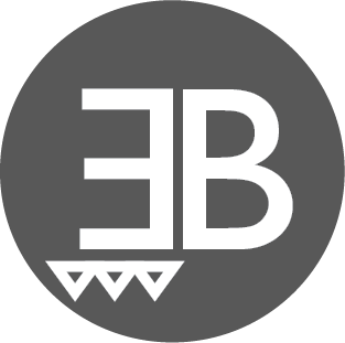 Elisa Bosco Logo, White initial EB and three triangles, all on top of a grey circle