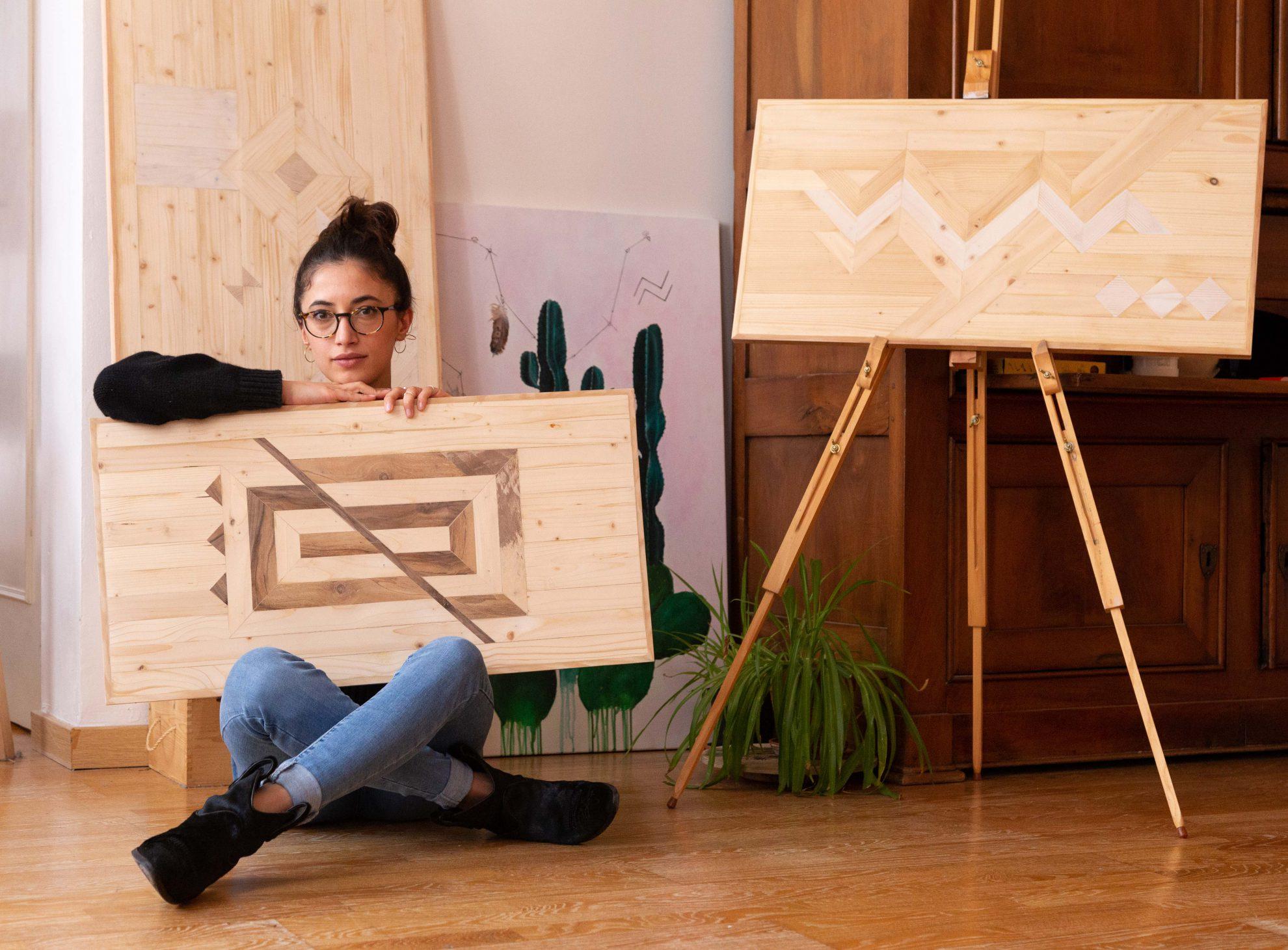 Elisa Bosco and her wooden wall art